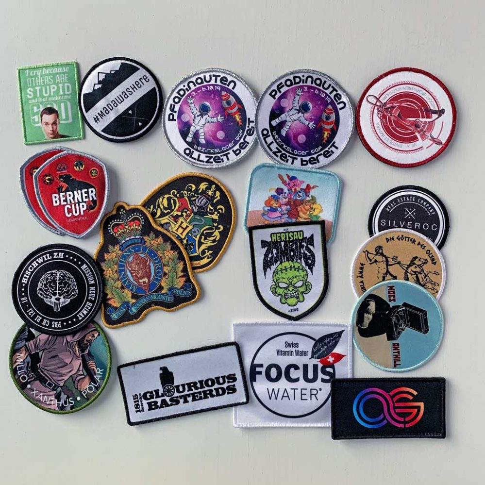 Printed patches with fine details and gradient colours.