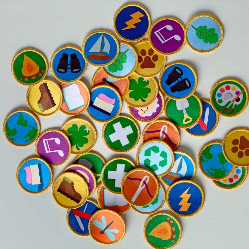 Sets of printed patches. Wilderness explorer.